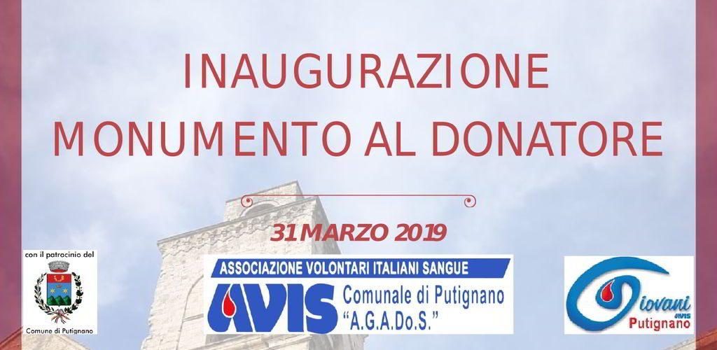 banner inaugurazione monumento al donatore marzo 2019